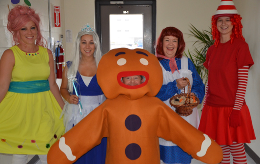 Tiffin employees dressed in Candy Land inspired costumes