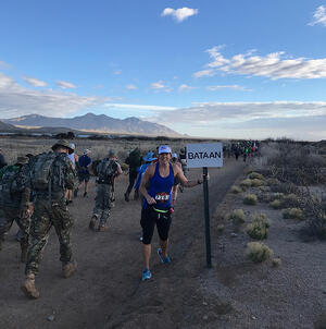 Lisa Welbourne at a marathon in New Mexico