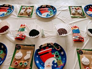 Cookie and ornament decorating table